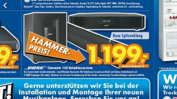[lokal Euronics XXL Johann Wittmer Ratingen] Bose Cinemate 130 für 1199€ (Idealo: 1439)