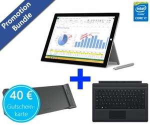 Microsoft Surface Pro 3 i7 inkl. Type Cover, Docking Station, 40€ prepaid Mastercard für 1576€ (Idealo: 1799,39€)