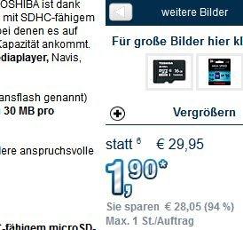 Zum mitbestellen bei Pearl: Toshiba microSDHC 16GB Class 10, inkl SD-Adapter für 1,90€