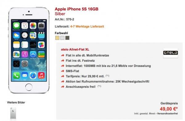 iPhone 5s (49Euro) im Otelo Allnet-Flat XL (30Euro mtl.) @ Preisboerse24