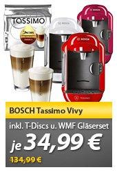 Bosch TASSIMO VIVY TAS1253 pink,rot,schwarz oder weiss + 1xTDiscs + Gläser WMF Heißgetränkemaschine @meinpaket.de