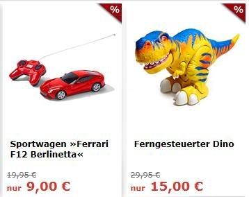 Tchibo.de Deals am Wochenende im Zeichen der Kids. Ferngesteuerter Ferrari F12 für 9 € & Ferngesteuerter Dino für 15 €