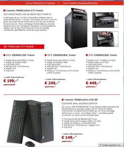 Alternate:Lenovo Desktops z.b G3240,1TB,HD4400,4GB Win7+Win8 PRO 249 Euro  ( andere ab 149 Euro )