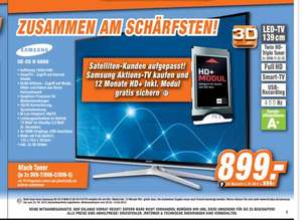 Samsung UE55H6600 inkl. 12 Monate HD + HD Modul