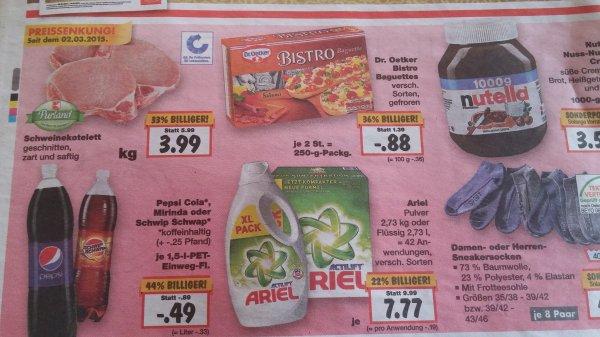 Pepsi 1.5l 49ct, Dr.Oetker Bistro Baguettes 88ct, Nutella 1kg 3.50€ @ Kaufland ab 9.3.2015