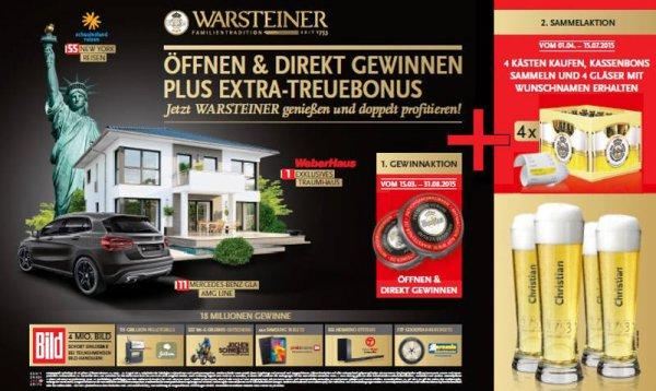 [Warsteiner Kronkorken Aktion 2015] 4 Kästen Warsteiner kaufen, 4 personalisierte Gläser erhalten