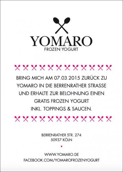 [Köln] Gratis Frozen Yogurt inkl. Toppings & Saucen bei Yomaro!