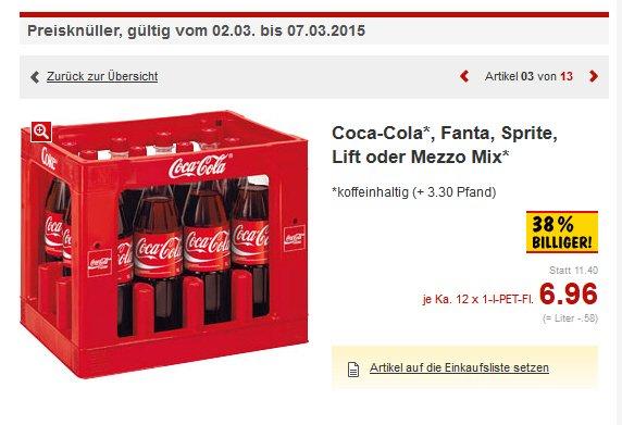 [Kaufland Augsburg] Kasten Coca-Cola / Fanta / Sprite / Mezzo-Mix / Lift 12x1L für 6,96 € zzgl. Pfand ggf. - ggf. andere Märkte?