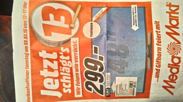 """[Lokal Wolfsburg/Gifhorn] Telefunken D48F275R3C 48"""" Triple-Tuner Smart-TV (und weitere Deals) nur am 08.03.2015 bei Mediamarkt"""