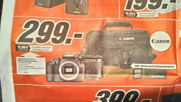 [Lokal Wolfsburg/Gifhorn] Canon EOS 1200D Kit 18-55 mm (Canon DC III) inkl. Tasche bei Mediamarkt