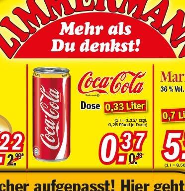 [Zimmermann] Coca-Cola Dose (0,33l) je 0.37€