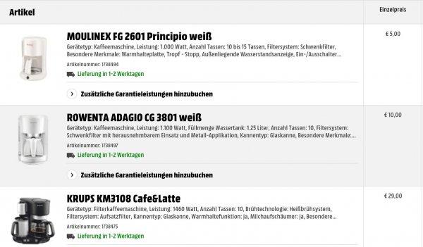 [Sammeldeal] Kaffeemaschienen Mediamarkt: z.B MOULINEX FG 2601 Principio weiß für 5€