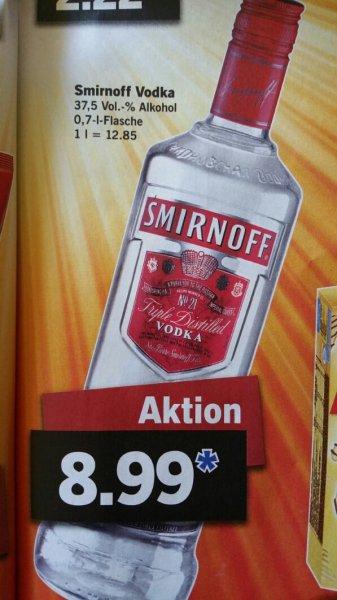 [Bundesweit] Lidl Smirnoff Vodka 0,7L 8.99€