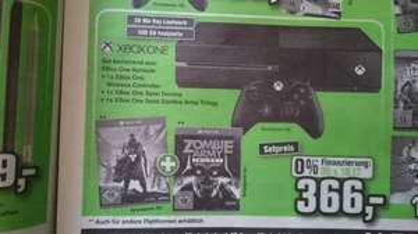 Xbox One + Destiny + Zombie Army Triology + 2. Controller bei Alphatecc