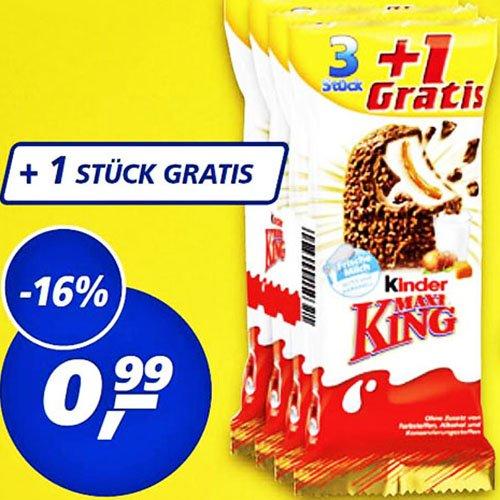 Kinder Maxi King 3+1 nur 25 Cent pro Riegel statt 43 Cent bei [ Real ]