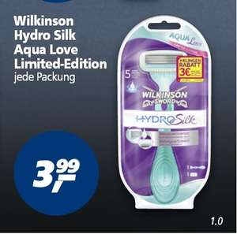 [Real] Wilkinson Hydro Silk Aqua Love Limited-Edition ab 16.03. Gratis