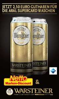 [Netto MD]Aral Waschkarte mit 2,50€ Guthaben beim Kauf einer Dose Warsteiner Bier bekommen