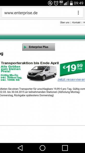 Transporter mieten für 19,99 Umzugswagen Anbieter: enterprise rent a car