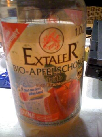 24 l Extaler Bio Apfelschorle Bio (MHD 25.11.2011) für 0,88 € inkl. Versand (Nur für Neukunden bei Lebensmittel.de)