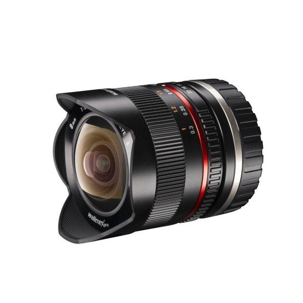 [Amazon Blitz] Walimex Pro 8mm 1:2,8 Fish-Eye II CSC-Objektiv (Bildwinkel 180 Grad, MC Linsen, große Schärfentiefe, feste Gegenlichtblende) für Sony E-Mount Objektivbajonett schwarz für 250,-€