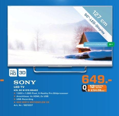 [Lokal Saturn Nürnberg] Sony KDL-50W815B 126cm (50 Zoll) 3D-LED-Backlight-Fernseher (Full HD, 600Hz Motionflow XR, Smart View, DVB-T/T2/?C/S/?S2, CI+, WLAN, Skype, X-Reality PRO) für 649,-€