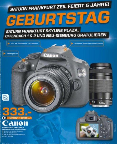 [Lokal Saturn Frankfurt Zeil] Canon EOS 1200D Doppelkit Set für 333€