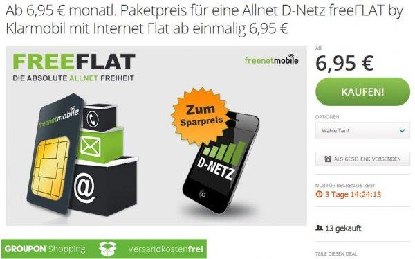 [Groupon] freenetmobile D-Netz Allnet Flat ab 6,95€ mtl / eff. 11,95€ mtl.