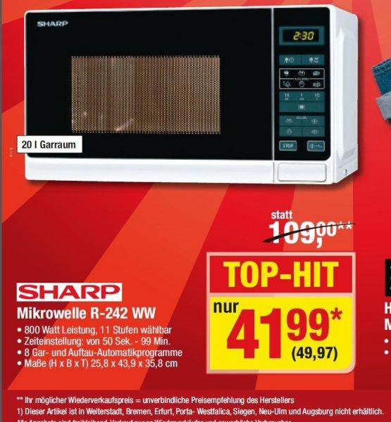 [Metro] Samstagsknüller nur am 21.03. Mikrowelle SHARP R 242WW  ... 4 9 , 9 7...   EUR