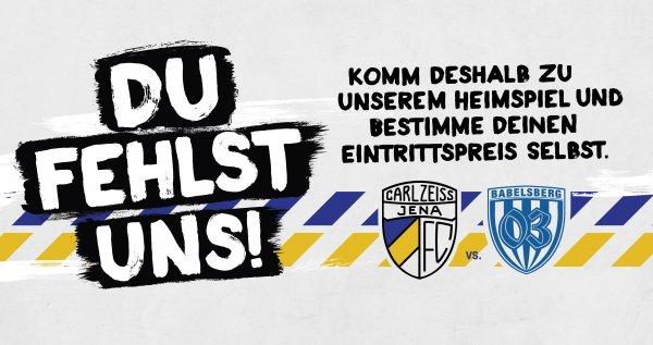 [LOKAL] Regionalliga Nordost: FC Carl Zeiss Jena - SV Babelsberg 03 - 'Du bestimmst den Preis'-Aktion bis einschl. 22.03.15