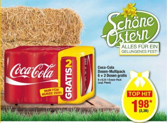 [METRO] Coca Cola Dosen-Multipack 6+2 Dosen Gratis