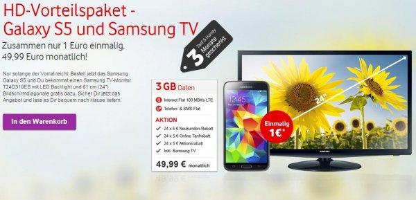 Vodafone Red 3 Tarif mit Samsung Galaxy S5 + 24 Zoll LED-TV für 1,- €