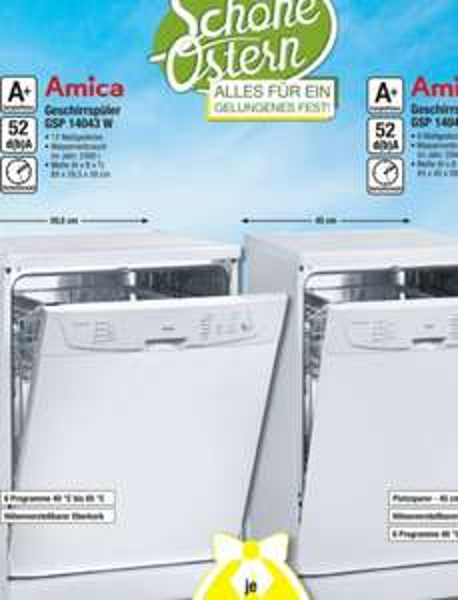 Geschirrspüler Amica 45cm & 60cm je 178,49€ [Metro]
