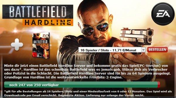 Battlefield Hardline umsonst zur Mietung eines 4players (min. 6. Monate)