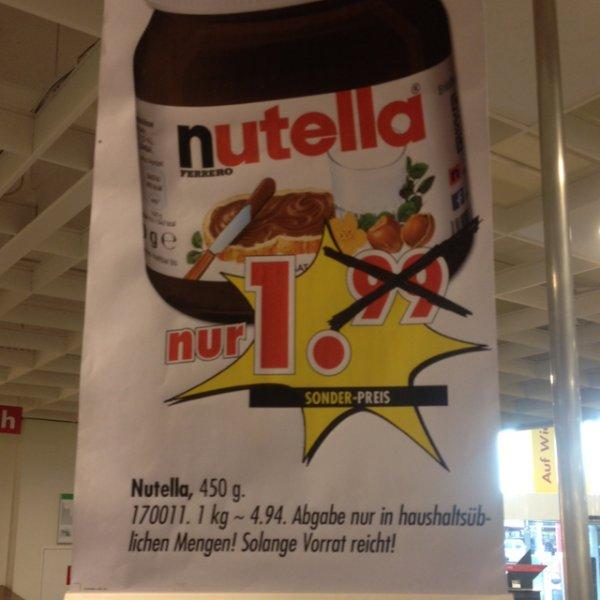 [Leonberg lokal] Nutella 450g für 1€