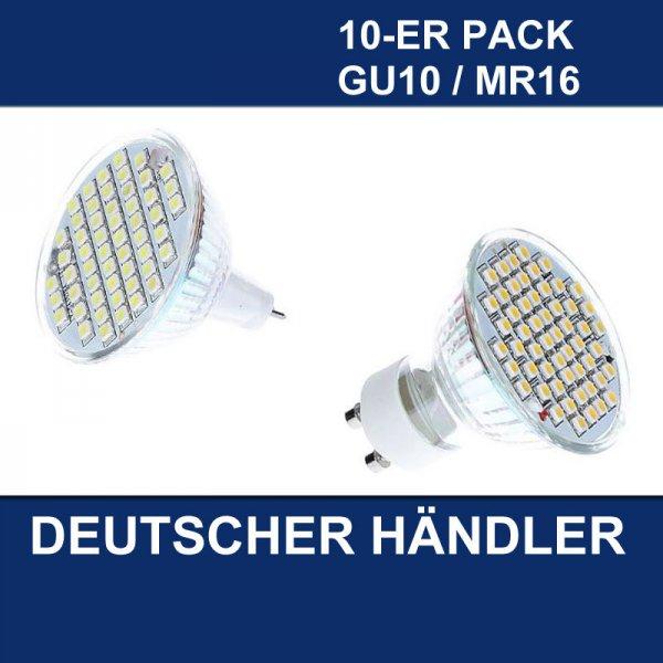 10x MR16/GU10 54 SMD 3W LED LAMPE BIRNE - Ebay