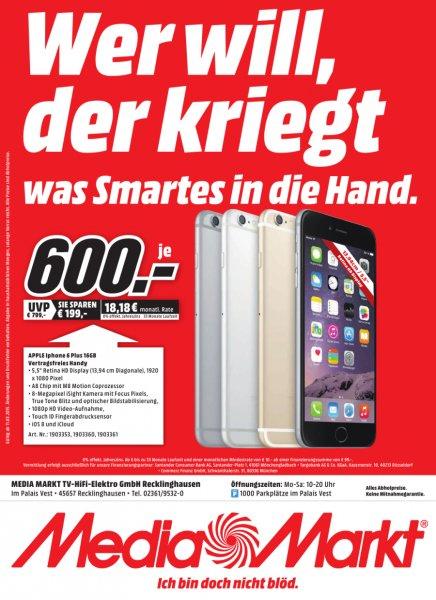 [Lokal Mediamarkt Recklinghausen] Apple Iphone 6Plus,16GB in allen Farben für je 600,-€