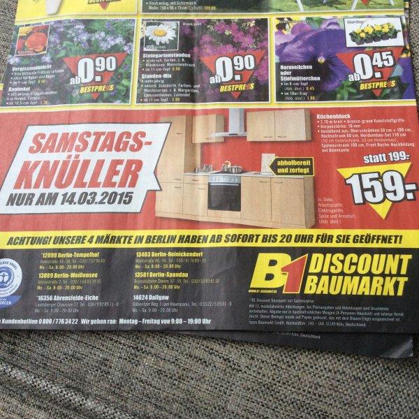 B1 Baumarkt Küchenblock 270cm ohne Geräte für 159€ am 14.03.15 [offline]