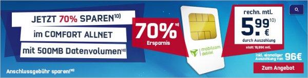 mobilcom-debitel o2 Comfort Allnet Spezial für 5,99€/ Monat