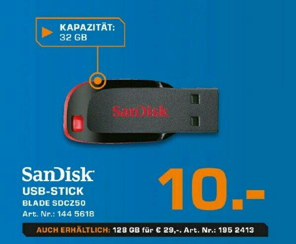[Saturn offline & online] SanDisk Cruzer Blade USB Flash-Laufwerk 32Gb = 10€ & 128Gb = 29€