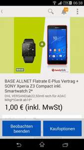 Sony Xperia Z3 Compact + Sony Smartwatch 2, Base All In, 30€ mtl.