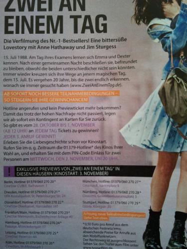 """(Fast) Kostenlos ins Kino """"Zwei an einem Tag"""" 2.11.2011 um 20 Uhr Anruf 0,50€ - TV Spielfilm """"Art"""" der Kartenvergabe"""
