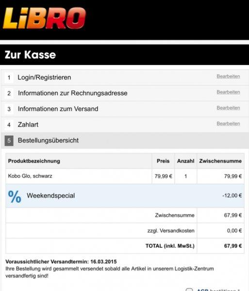 [Österreich] Libro.at -15% auf Kobo ebook Reader, Kobo glo für 67,99€, 32% unter Idealo!