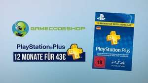 Playstation Plus 12 Monate Abo 43 €