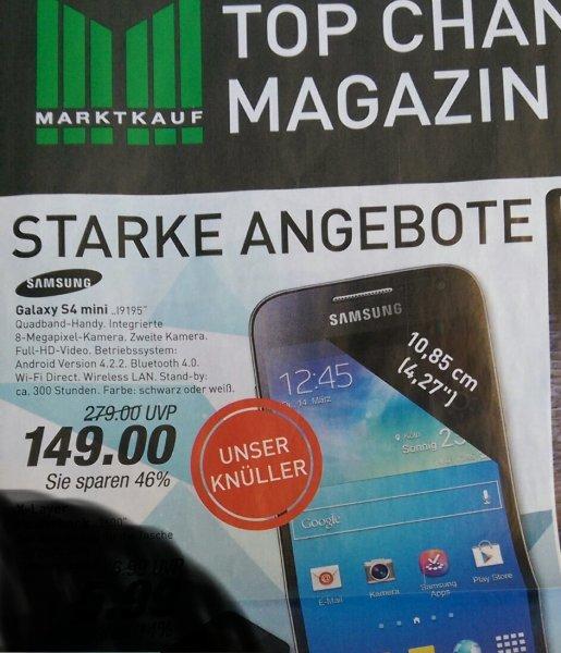 Nur bis Sa, 21.03.2015 Samsung Galaxy S4 mini I9195 Schwarz oder Weiß, 46% Rabatt @ MarktKauf Rheinruhr
