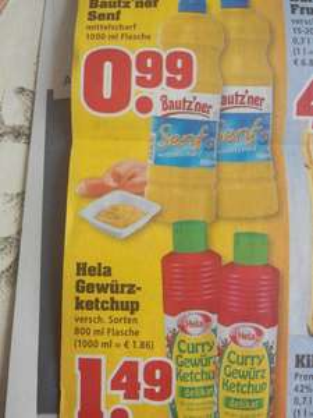 (trinkgut) Bautz`ner  Senf 1000 ml 0,99€ Hela Gewürzketchup 1,49 €