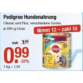 Freebie: V-Markt: Pedigree 800g Dose 0,99 Euro / nimm 12 zahl 10