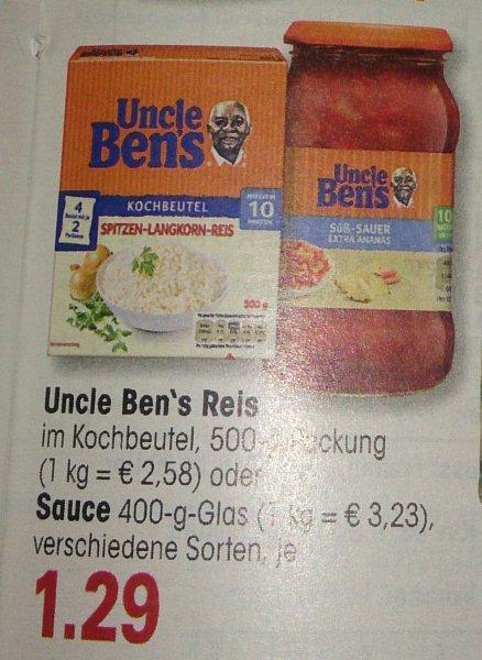 [EDEKA SW & N] Uncle Bens Saucen oder Kochbeutel Reis (mit -1€ Coupon) für 0,29€
