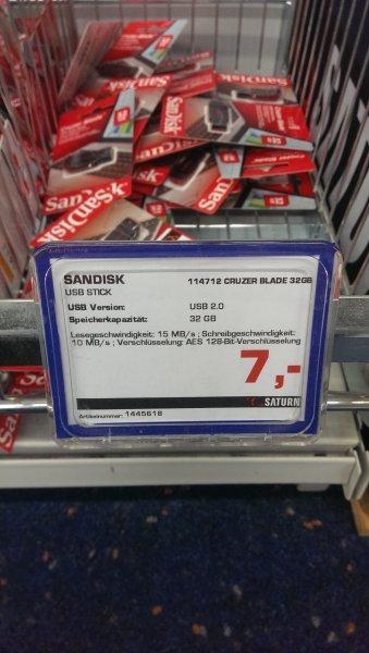 SanDisk Cruzer Blade 32 GB USB 2.0 für 7€ [Saturn Essen]