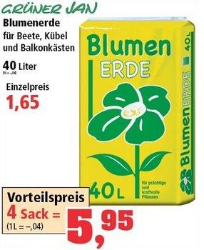 [Thomas-Philipps] 4 Säcke (4x 40 Liter) BLUMENERDE für 5,95  (1L = 0,04 Euro)