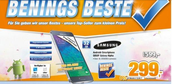 "[Expert-Bening Filialgruppe] Samsung SM-G850F Galaxy Alpha, 32GB,Silber und Blau [Android 4.4.4, 11,94cm (4,7"") HD Display, edler Metallrahmen für 299,-€"